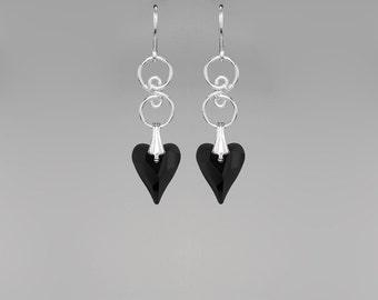 Swarovski Crystal Earrings, Black Hearts, Simple Earrings, Casual Earrings, Basic Black, Swarovski Wild Hearts, Swarovski Earrings