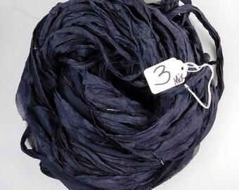 Sari silk ribbon, Silk Sari Ribbon, Chiffon Sari silk ribbon, Charcoal Black Chiffon ribbon, tassel supply, weaving supply, knitting supply