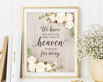 We Know You Would Be Here Today If Heaven Wasn't So Far Away, Rustic Memorial Wedding Sign, In Loving Memory, Printable, W249