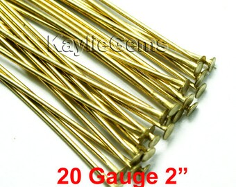 Head Pins 50mm 2 inches 20 Gauge Flat Head Raw Brass Heavy Strong -PN-H51x0.8RB - 50pcs
