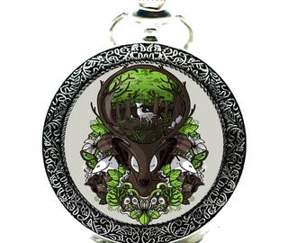 Guardian of the forest-Antique Copper Pocket Watches,Elk Watch Necklace,Unique Gift idea