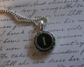 The Letter I Vintage Typewriter Key Necklace Pendant