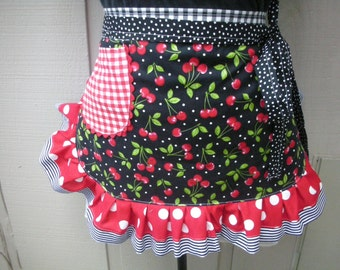 Womens Aprons - Cherry Fabric Aprons - Womens Half Aprons - Red Checked Aprons - Annies Attic Aprons - Etsy Aprons - Black Aprons -
