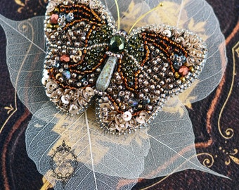 Butterfly Brooch, Butterfly jewelry, Beaded Insect brooch, Steampunk brooch, Beetle brooch, Insect jewelry, Insect art Statement jewelry