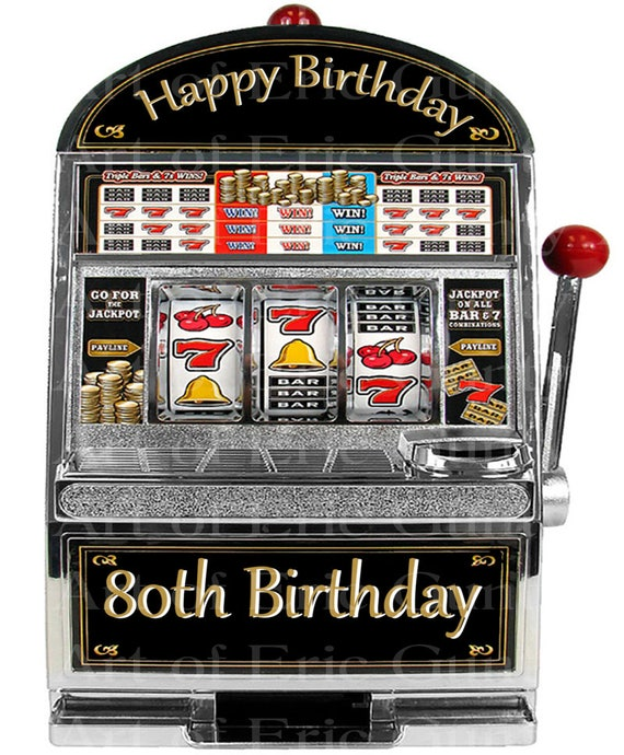 Las Vegas Happy 80th Birthday Slot Machine - Edible Cake and Cupcake Topper For Birthday's and Parties! - D22769