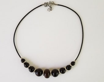 Ebony and Stainless Necklace