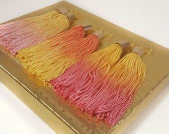 Pink tassel earrings, yellow tassel earrings, coral earrings, light pink earrings, yellow earrings, statement earrings, long earrings