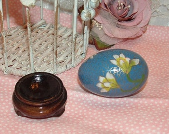 Blue with Pink Flowers enamel Painted with Gold Cloisonne Style Decorative Egg with Wood Stand