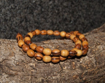 Simple olive wood necklace, meditation necklace,oval bead, stretchy cord