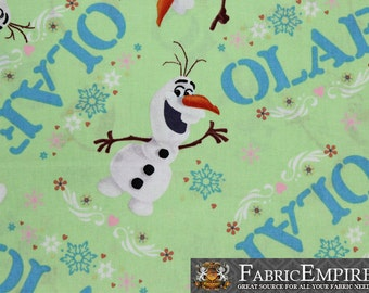 100% Cotton Fabric Quilt Prints Disney Frozen Olaf in Light Green Licensed Sold By The Yard N-Cotton-49-OT