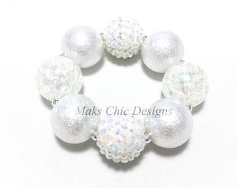 Toddler or Girls Pretty In White Chunky Bracelet - Girls White Sparkle Bracelet - Princess bracelet - Flower Girl Chunky Bracelet - Baptism