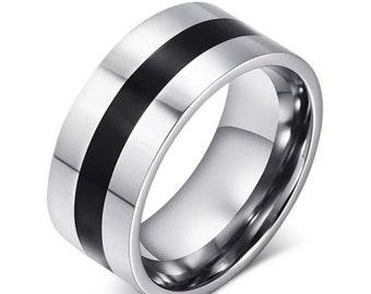 black/silver stainless steel rings