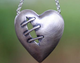 Sale Sutured Heart Necklace Sterling Silver Free Domestic Shipping