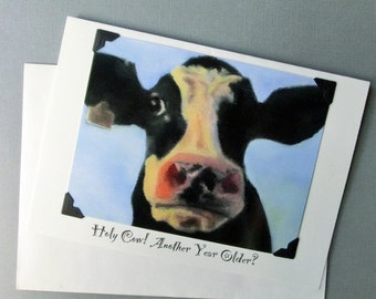 Funny Cow Birthday Card - Cow Birthday Card - Funny Animal Birthday Card - Proceeds Benefit Animal Charity