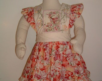 Hand Embroidered Flower Fairies Pinafore Dress
