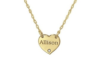 HEART necklace, heart birthstone necklace, name heart necklace, gold heart necklace, mothers necklace, name necklace personalized
