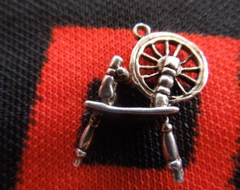 Sterling Spinning Wheel Charm Figural Spinning Wheel Charm Sterling Silver Charm for Bracelet from Charmhuntress 04898