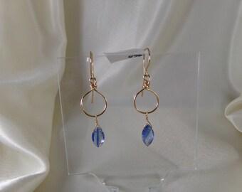Blue kynite gold filled hoop earrings gemstone handmade item 860