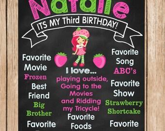 Strawberry Shortcake Birthday Chalkboard