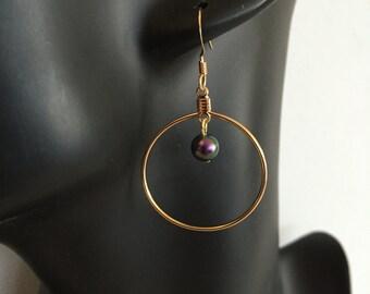 Women's Earrings-Gold Filled Hoops with Swarovsky Pearl-Women's Jewelry-Women's Accessory-Women's Gift-Girlfriend Jewelry-Gift For Her-K7