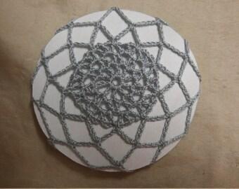 Crochet grey silver bun cover snood hair accessory