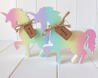 Sweet Hand Painted Rainbow Shimmer Wooden Unicorn
