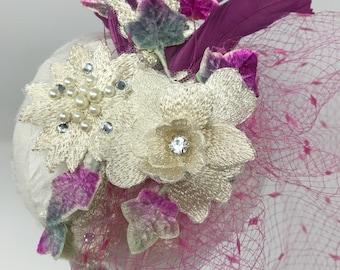 Fuchsia Veiled Headband