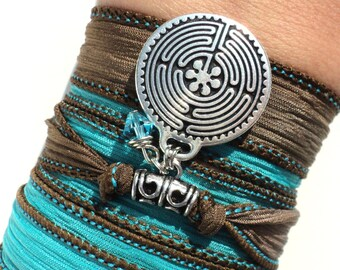 Labyrinth Silk Wrap Bracelet Yoga Jewelry Bohemian Arm Band Necklace Maze Earthy Unique Gift For Her or Him Under 50 Item K75