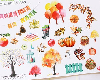 Planner Stickers Watercolor Autumn Deco for Erin Condren, Happy Planner, Filofax, Scrapbooking
