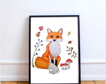 Fox art, fox nursery art, fox nursery decor, woodland nursery art, Woodland nursery decor, nursery decor woodland, fox baby shower, baby fox