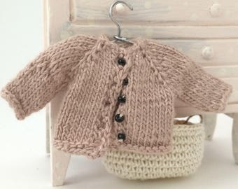 1:12 Miniature Hand-Knitted Cardigan Sweater