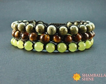 Meditation gemstone bracelet Unisex beaded bracelets Healing bracelets set Green brown stone Serpentine beaded jewelry Green onyx bracelet