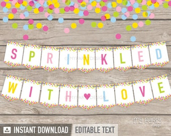 Baby Sprinkle Banner   Baby Shower   INSTANT DOWNLOAD   Printable PDF With  Editable Text (