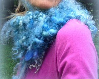 hand knit scarf soft art yarn boa gypsy boho wool curls felted scarf - wild forest faerie beautiful blue heavens dream scarf
