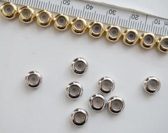 4 pc. Chain Stopper, Slide Holder, Slider Bead, Stopper Bead, Chain Length Controller, 16k Gold /Original Rhodium/Rose Gold Plated Brass