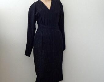 1980s Pauline Trigere Cocktail Dress / black silk wiggle dress / designer vintage LBD