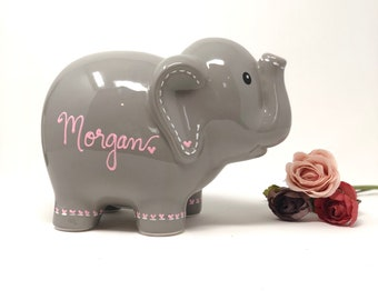 Personalized Elephant Piggy Bank, Hand Painted Piggy Bank for Girls, Baby Shower Gift 1st Birthday Gift for Baby Girl, Baby Girl Room Decor