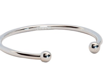 Solid Sterling Silver Torque Bangle