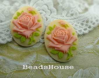 2pcs (30 X 40mm) Pretty Rose Oval Cameo- Pink Rose on Cream