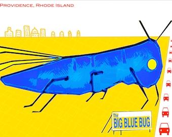 Big Blue Bug  Art Print by Giraffes and Robots