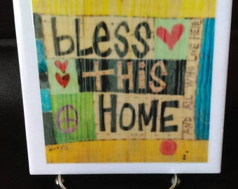 Bless This Home Decorative Ceramic Tile and Easel Decoration Gift Idea, Teacher, Home Decor, Housewarming, Bridal Shower, Wedding Gift