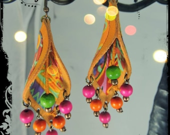 SOLD - Earrings - VERACRUZ - Ochre - yellow leather fabric in predominantly orange and yellow and pink and green wooden beads