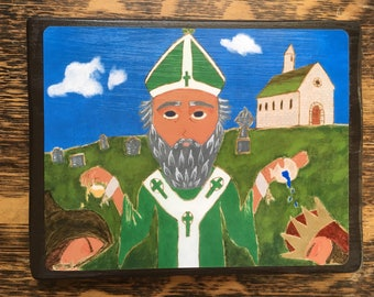 5 X 7 ish inch Saint Patrick Icon Print on wood