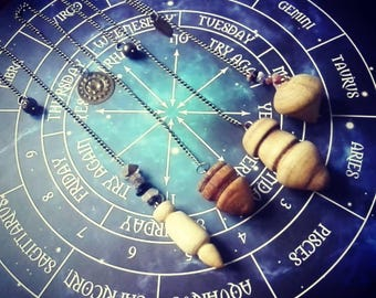 Dowsing Pendulum - divination readers dowsers witch wiccan pagan shaman druid spirituality wooden driftwood