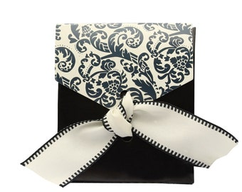"""Wedding Favor Boxes In Black And Ivory With Black Damask Flourish. These Wedding Favor Boxes Include A 1"""" Pre-Cut Ribbon. Set of 25 Boxes"""