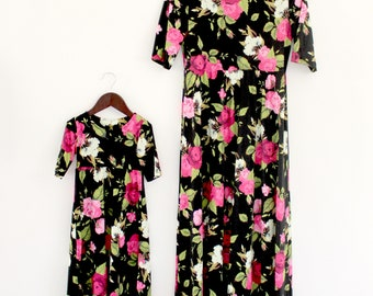 Black floral dress, mommy and me, mother daughter, matching outfits, matching dresses, summer dresses, maxi dresses, floral dresses,matching