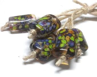 Lampwork beads handmade Beads supplies jewelry Beads for jewelry making Murano beads Set beads Beads SRA Beads green, orange,purple.