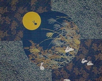 Japan Fabric Furoshiki Navy 'Rabbit in the Moon' Cotton 50cm w/Free Shipping