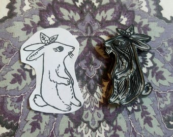 Cute bunny/rabbit, handmade rubber stamp
