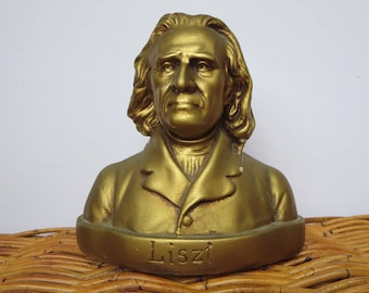 COMPOSER BUST, Liszt, Music composer, Classical music, Plaster bust, Mozart, Antique decor, Collectible, Figurine, Home decor, Gift ideas